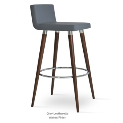 Dallas Wood 24 Bar Stool Upholstery: Leatherette-Orange