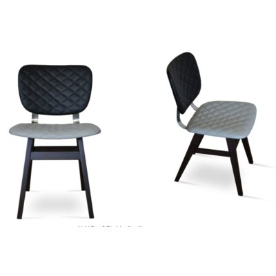 Hazal Side Chair Upholstery: Leatherette -  Quilted Black, Finish: Natural