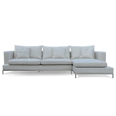 Simena Sectional Color: Cream Tweed, Orientation: Right Hand Facing, Upholstery: Tweed