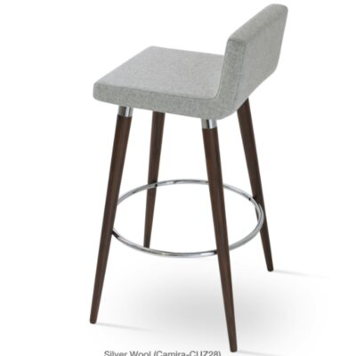 Dallas Wood 24 inch Bar Stool with Cushion Upholstery: Silver