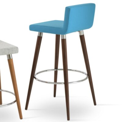 Dallas Wood 29 Bar Stool with Cushion Upholstery: Turquoise