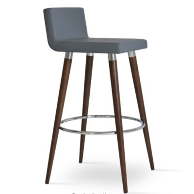 Dallas Wood 24 inch Bar Stool with Cushion Upholstery: Gray