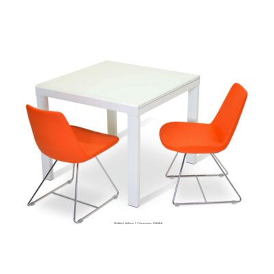 Eiffel Wire Genuine Leather Upholstered Dining Chair Upholstery: Orange