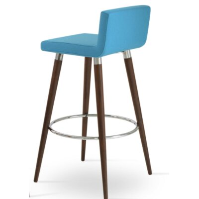 Dallas Wood 24 Bar Stool Upholstery: Camira Wool-Turquoise