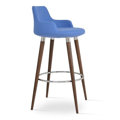 Dervish 24.5 inch Bar Stool Upholstery: Sky Blue Wool, Finish: Walnut