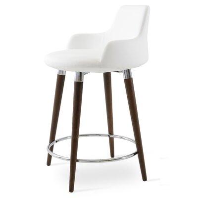 Dervish 24.5 inch Bar Stool Finish: American Walnut, Upholstery: White Leatherette