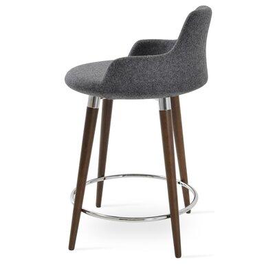 Dervish 24.5 Bar Stool Leg Color: Walnut, Upholstery: Wool-Dark Gray