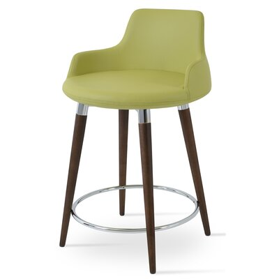 Dervish 24.5 Bar Stool Leg Color: Natural, Upholstery: Gray Soft Leatherette