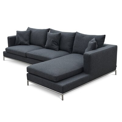 Simena Sectional Color: Dark Grey, Upholstery: Camira Wool, Orientation: Right Hand Facing