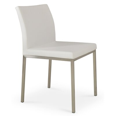 Aria Upholstered Dining Chair Color: White