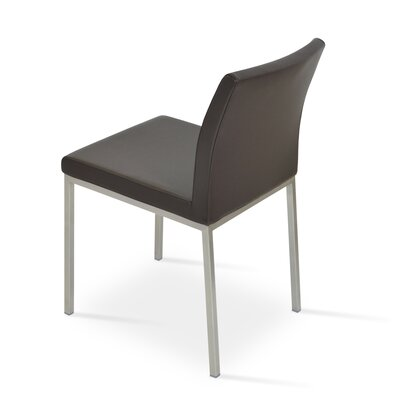 Aria Parsons Chair Upholstery: Leatherette - Brown