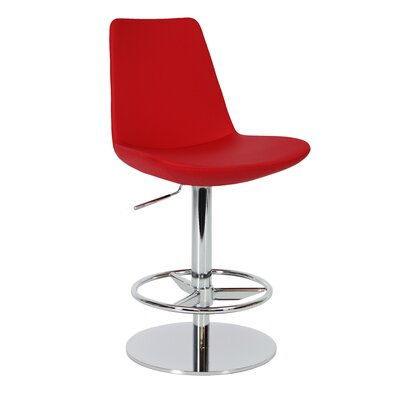 Eiffel Adjustable Height Swivel Bar Stool Upholstery: Red, Finish: Stainless Steel