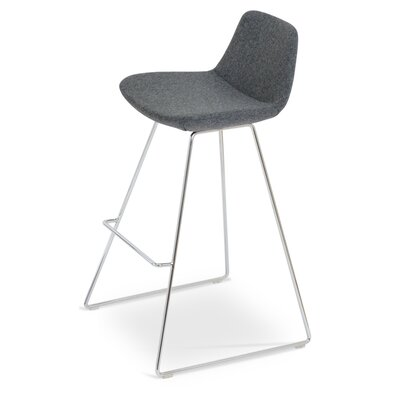 Pera Wire 29 Bar Stool Upholstery: Dark Grey