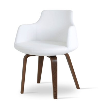 Dervish Plywood Chair Upholstery Color: White, Frame Color: Walnut