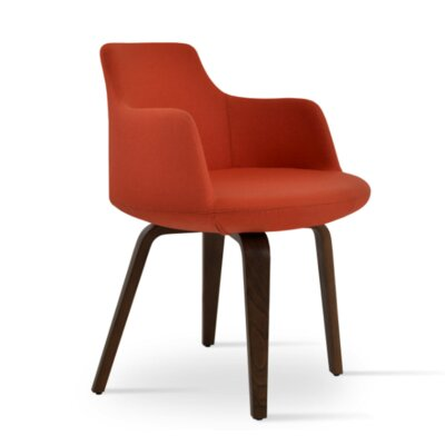 Dervish Plywood Chair Upholstery Color: Orange, Frame Color: Natural