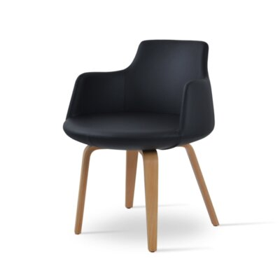 Dervish Plywood Chair Upholstery Color: Black, Frame Color: Wenge