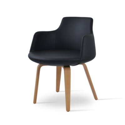 Dervish Upholstered Dining Chair Upholstery Color: Dark Gray, Leg Color: American Walnut