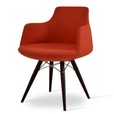 Dervish Dining Chair Upholstery Color: Orange, Frame Color: Walnut