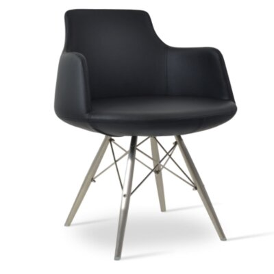 Dervish Dining Chair Upholstery Color: Black, Frame Color: Stainless Steel