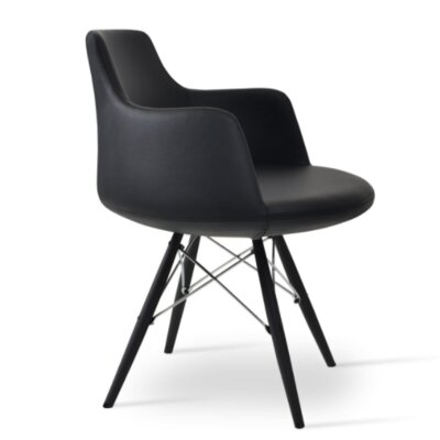 Dervish Dining Chair Frame Color: Black, Upholstery Color: Dark Gray