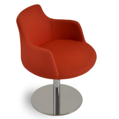 Dervish Round Chair Finish: Stainless Steel Brushed, Upholstery: Camira Wool - Orange