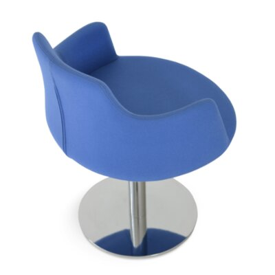 Dervish Round Chair Upholstery Color: Turquoise, Frame Color: Stainless Steel Polished