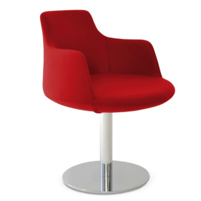 Dervish Round Chair Upholstery Color: Apple Red, Frame Color: Stainless Steel Polished