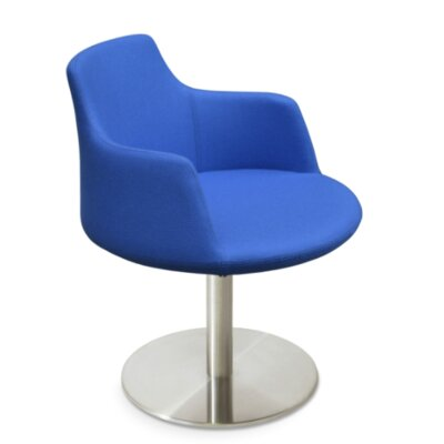 Dervish Round Chair Frame Color: Stainless Steel Polished, Upholstery Color: Sky Blue