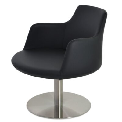 Dervish Round Chair Upholstery Color: Black, Frame Color: Stainless Steel Brushed