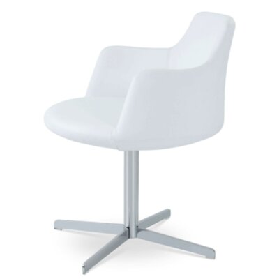 Dervish 4 Star Chair Frame Color: Chrome, Upholstery Color: White