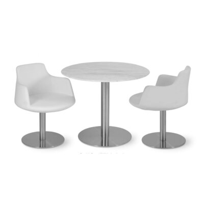 Dervish Round Chair Upholstery Color: White, Frame Color: Stainless Steel Polished