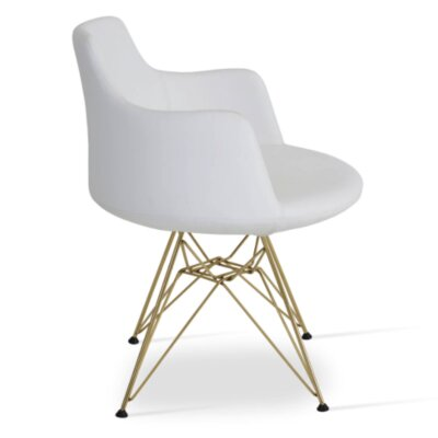 Dervish Tower Chair Upholstery Color: White, Frame Color: Gold/Brass