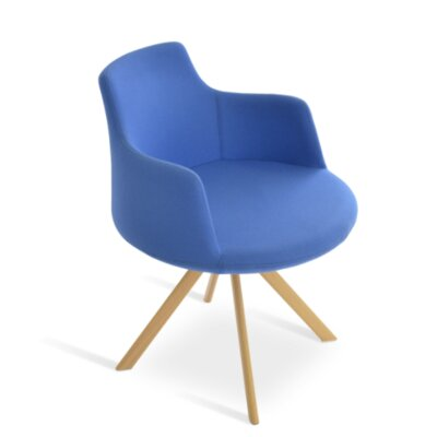 Dervish Sword Chair Frame Color: Natural, Upholstery Color: Sky Blue