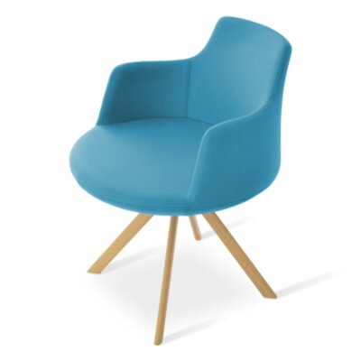 Dervish Sword Chair Frame Color: Natural, Upholstery Color: Blue
