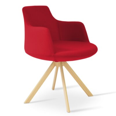 Dervish Sword Chair Upholstery Color: Apple Red, Frame Color: Natural