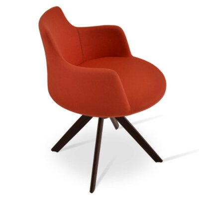 Dervish Sword Chair Upholstery Color: Orange, Frame Color: Walnut