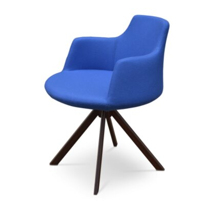 Dervish Sword Chair Upholstery Color: Sky Blue, Frame Color: Walnut