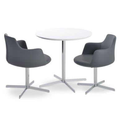 Dervish 4 Star Chair Frame Color: Chrome, Upholstery Color: Dark Grey