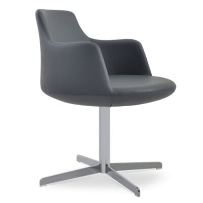 Dervish 4 Star Chair Frame Color: Chrome, Upholstery Color: Gray