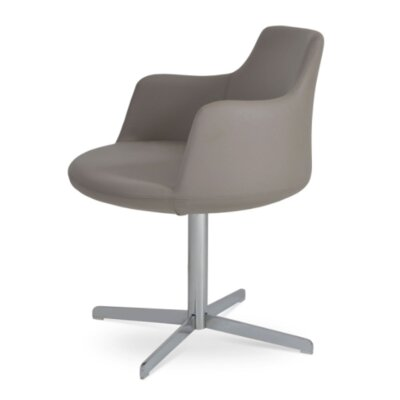 Dervish 4 Star Chair Frame Color: Chrome, Upholstery Color: Bone