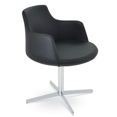 Dervish 4 Star Chair Upholstery Color: Black, Frame Color: White