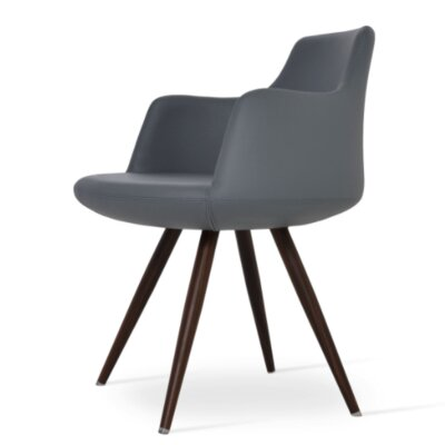 Dervish Star Dining Chair Upholstery Color: Dark Gray, Frame Color: Walnut