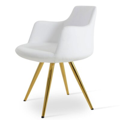 Dervish Star Dining Chair Upholstery Color: White, Frame Color: Gold/Brass