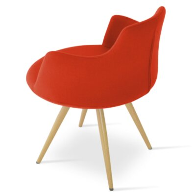 Dervish Star Dining Chair Frame Color: Natural, Upholstery Color: Orange