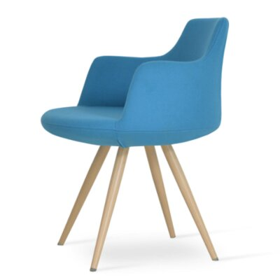 Dervish Star Dining Chair Frame Color: Natural, Upholstery Color: Sky Blue