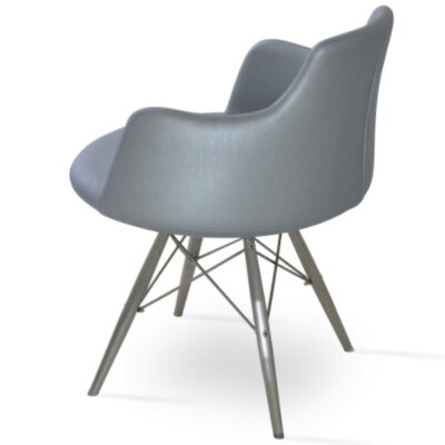 Dervish Dining Chair Frame Color: Stainless Steel, Upholstery Color: Gray