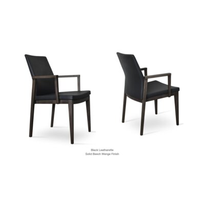 Pasha Wood Arm Chair Upholstery Type: Leatherette- Black, Finish: Wenge