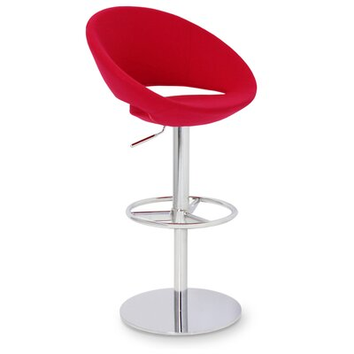 Crescent Adjustable Height Swivel Bar Stool Upholstery: Red, Finish: Stainless Steel