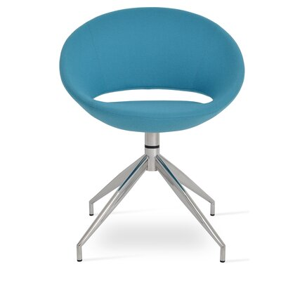Crescent Spider Swivel Side Chair in Camira Wool - Turquoise
