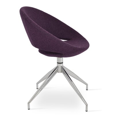 Crescent Spider Swivel Side Chair in Camira Wool - Deep Maroon